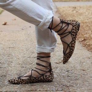Zara fur lace up flat pointed toe leopard sandals